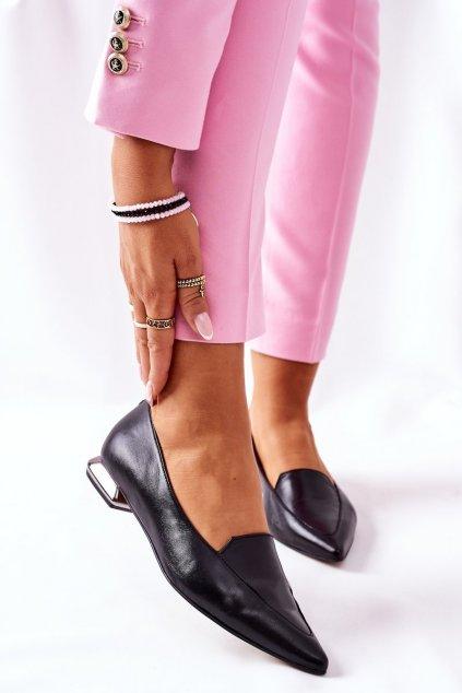 Dámske poltopánky farba čierna kód obuvi 2074 142 BLK