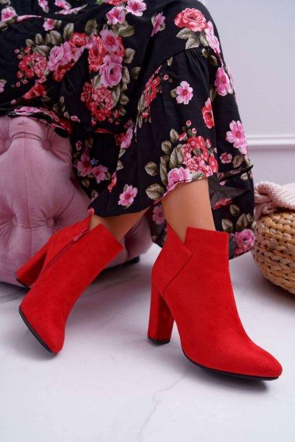Členkové topánky na podpätku farba červená kód obuvi 20-16103 RED