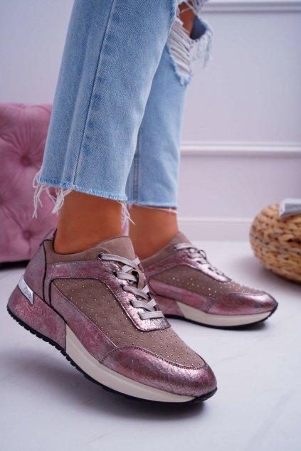 Dámske tenisky farba ružová kód obuvi SP005 BEIGE MIC