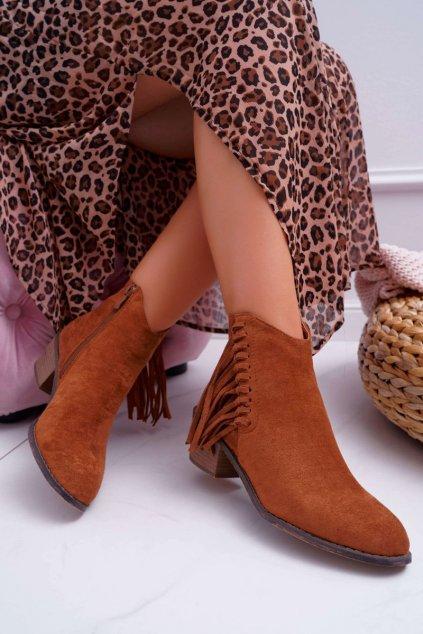 Členkové topánky na podpätku farba hnedá kód obuvi G1768 CAMEL