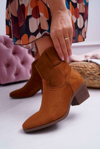 Členkové topánky na podpätku farba hnedá kód obuvi 99-24 CAMEL
