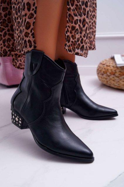 Členkové topánky na podpätku farba čierna kód obuvi JH407 BLK