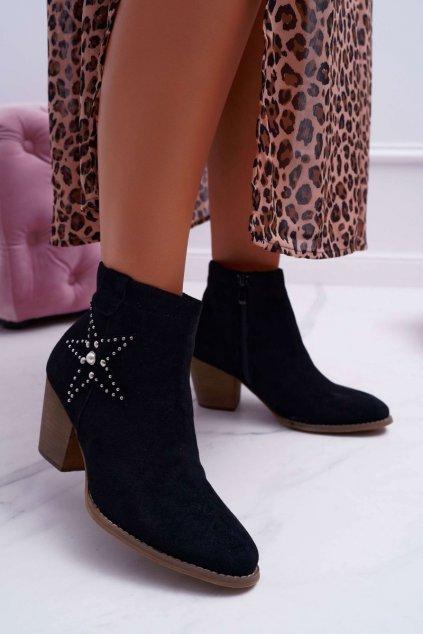 Členkové topánky na podpätku farba čierna kód obuvi L88-163 BLK