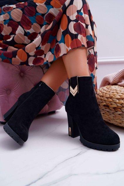 Členkové topánky na podpätku farba čierna kód obuvi M319 BLK