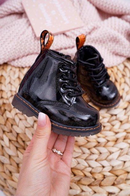 Detské členkové topánky farba čierna kód obuvi 20318-1A/2A BLK