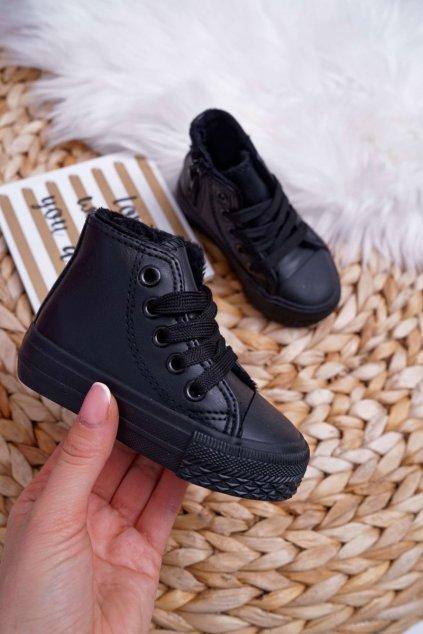Detské tenisky farba čierna kód obuvi 80091 BLK