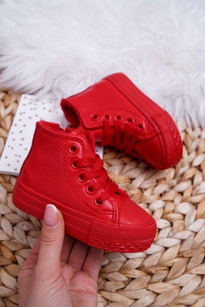 Detské tenisky farba červená kód obuvi 80091 RED