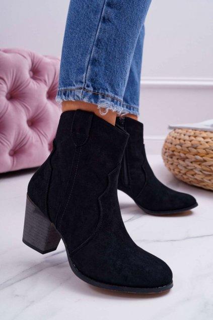 Členkové topánky na podpätku farba čierna kód obuvi 100-975 BLK