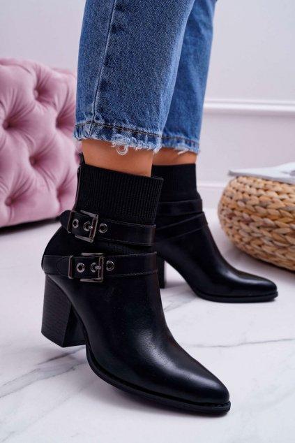 Členkové topánky na podpätku farba čierna kód obuvi Z1129 BLK