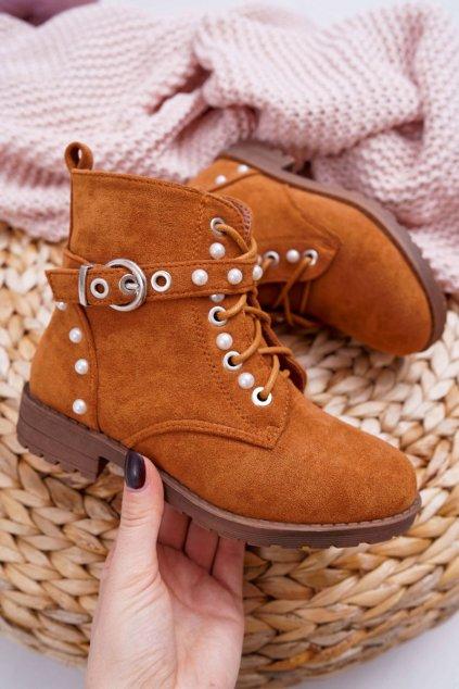 Detské členkové topánky farba hnedá kód obuvi KID069 CAMEL