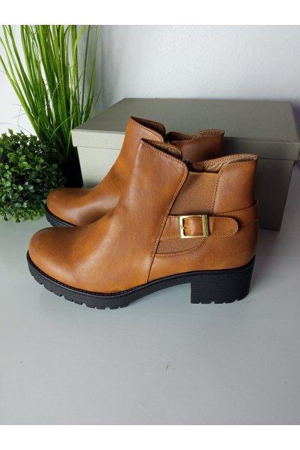 Členkové hnedé topánky NJSK Y005C