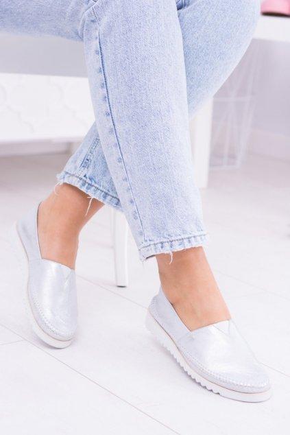 Dámske balerínky farba sivá kód obuvi 291/FELA SILVER