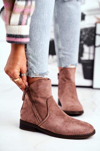 Členkové topánky na podpätku farba hnedá kód obuvi 9BT35-1309 KHAKI