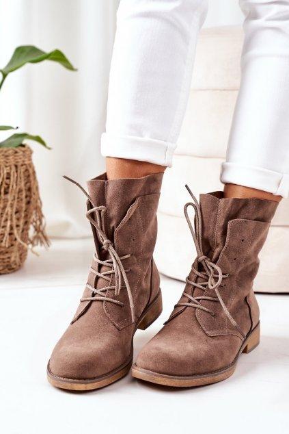Členkové topánky NJSK NC1198 KHAKI