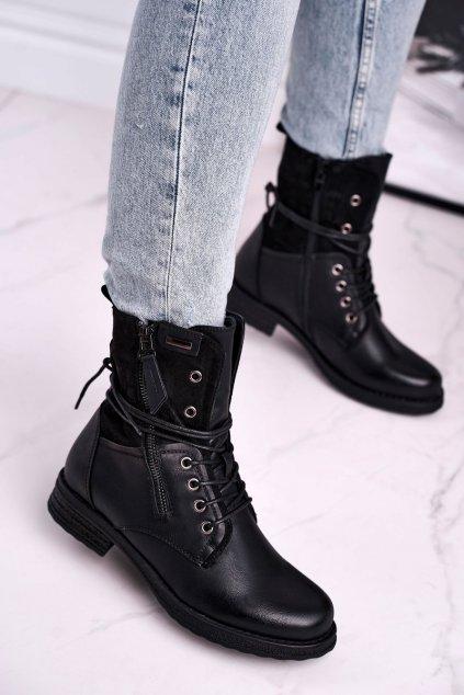 Členkové topánky na podpätku farba čierna kód obuvi 20BT35-3068 BLK