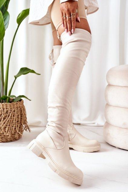 Dámske čižmy farba hnedá kód obuvi YK10 BEIGE