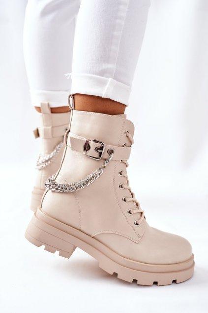 Členkové topánky na podpätku farba hnedá kód obuvi RQ381 BEIGE