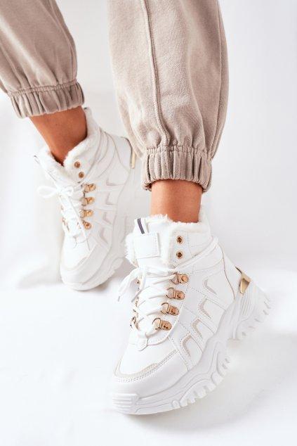 Členkové topánky na podpätku farba biela kód obuvi HF218-9 WHITE