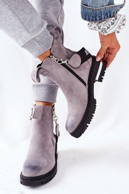 Členkové topánky na podpätku farba sivá kód obuvi NC1159 GREY