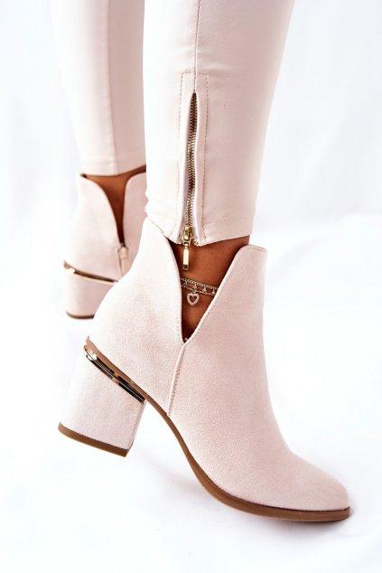 Členkové topánky na podpätku farba hnedá kód obuvi NS230 BEIGE