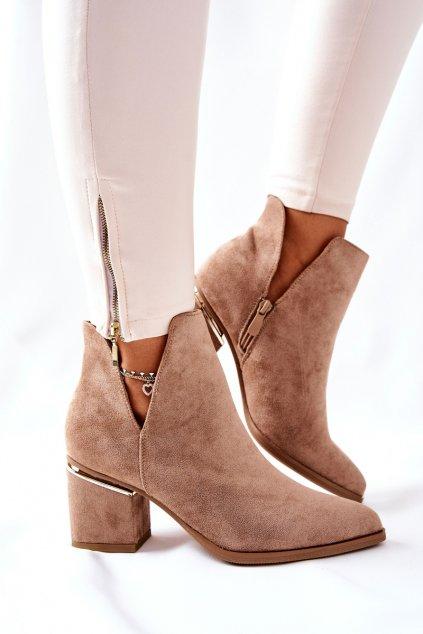 Členkové topánky na podpätku farba hnedá kód obuvi NS230 LT.KHAKI