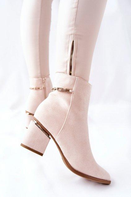 Členkové topánky na podpätku farba hnedá kód obuvi NS236 BEIGE