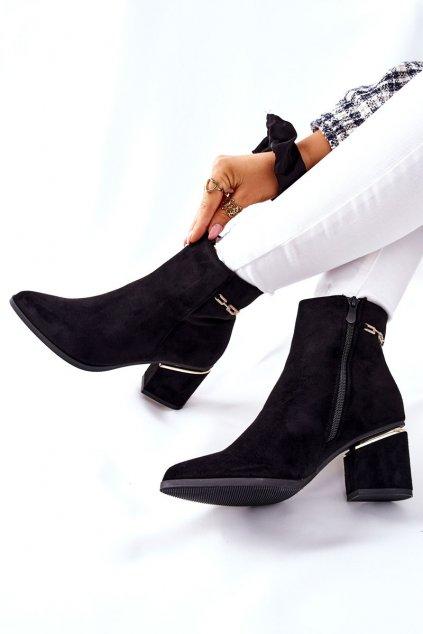 Členkové topánky na podpätku farba čierna kód obuvi NS236 BLK