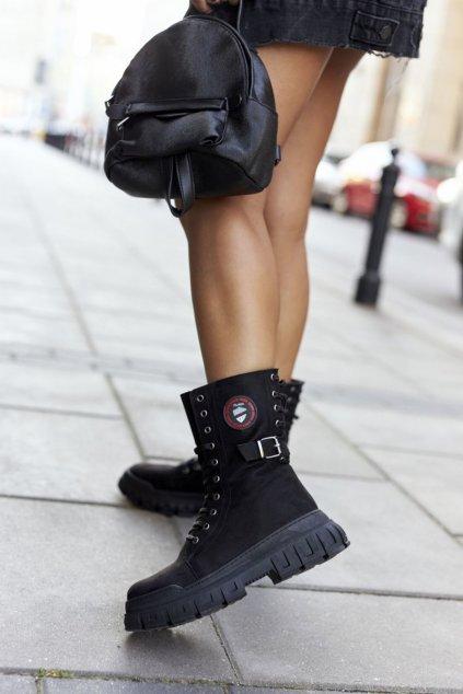 Členkové topánky na podpätku farba čierna kód obuvi 21-54002 BLK