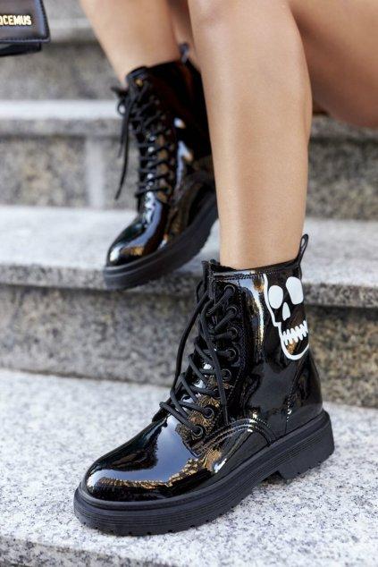 Členkové topánky na podpätku farba čierna kód obuvi II2N4047 BLK
