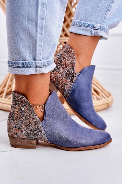 Členkové topánky na podpätku farba modrá kód obuvi 04091-27 NAVY KWIATY