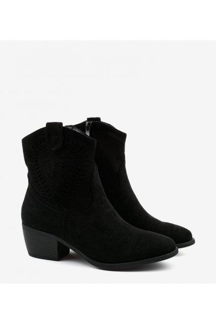 Dámske členkové topánky čierne kód 688-A92 BL - GM