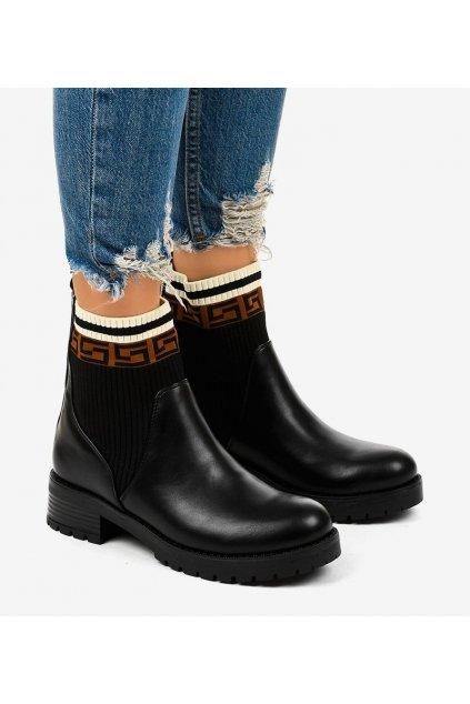 Dámske členkové topánky čierne kód 7998-PA - GM