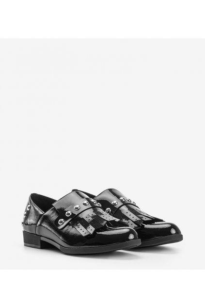 Dámske topánky mokasíny čierne kód C18-6266 - GM