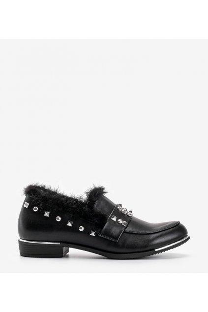 Dámske topánky mokasíny čierne kód C17-3219 - GM