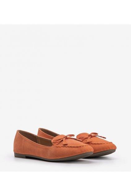 Dámske topánky mokasíny oranžové kód 99-07A - GM