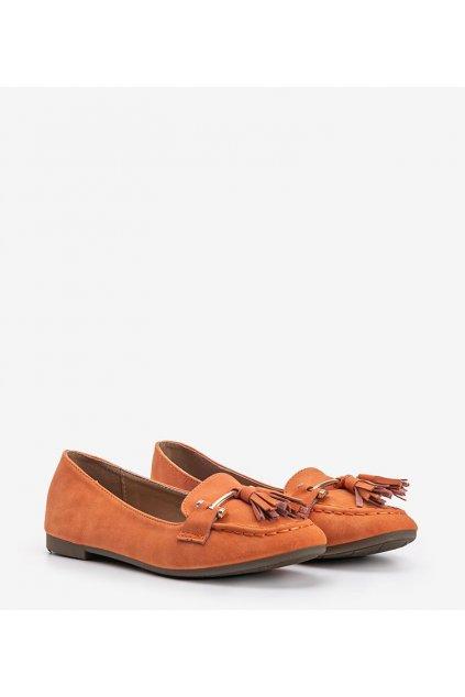 Dámske topánky mokasíny oranžové kód 99-08A - GM