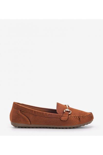 Dámske topánky mokasíny hnedé kód OF219 - GM