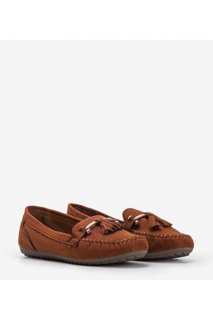 Dámske topánky mokasíny hnedé kód B1403-BL - GM