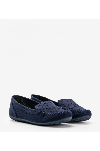 Dámske topánky mokasíny modré kód 195-13 - GM