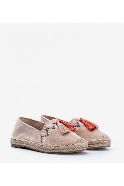 Dámske topánky espadrilky hnedé kód LX-3R11-13 - GM