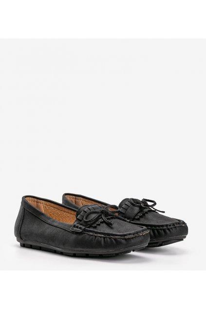 Dámske topánky mokasíny čierne kód 9F182 - GM