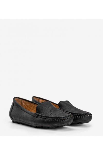 Dámske topánky mokasíny čierne kód 9F180 - GM