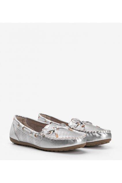 Dámske topánky mokasíny sivé kód 0F216 - GM