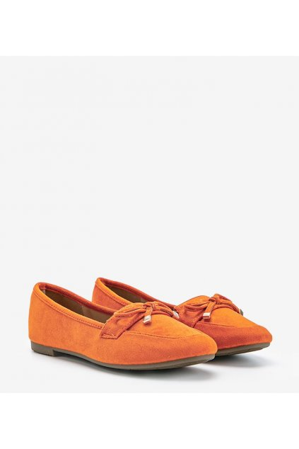 Dámske topánky mokasíny oranžové kód 88-386 - GM