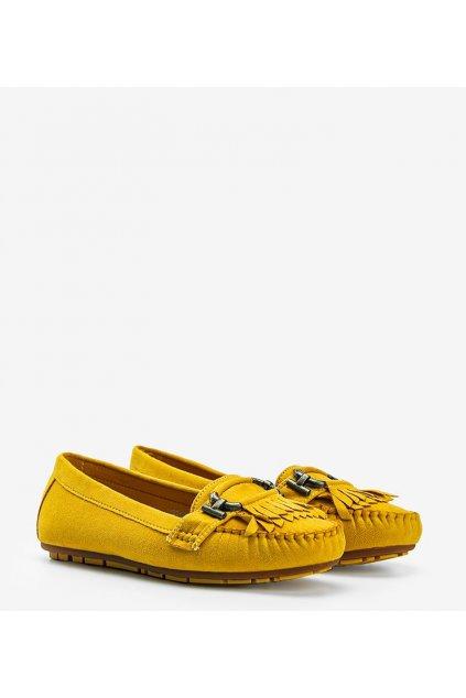 Dámske topánky mokasíny žlté kód H9260 - GM
