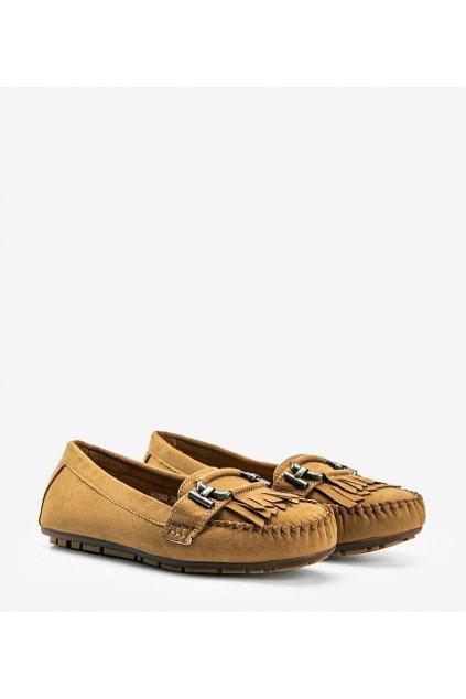 Dámske topánky mokasíny hnedé kód H9260 - GM