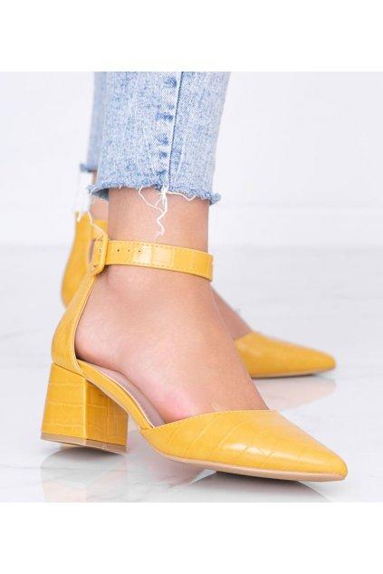 Dámske topánky lodičky žlté kód 1BS-0206 - GM