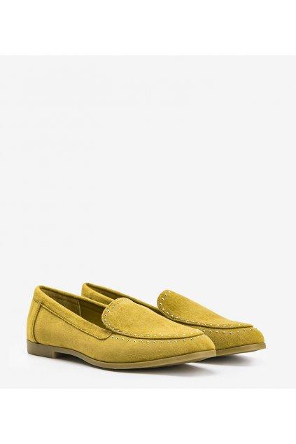 Dámske topánky mokasíny žlté kód 4322 - GM