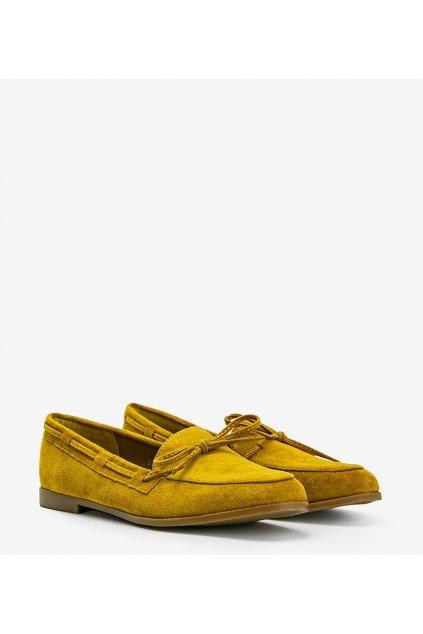 Dámske topánky mokasíny žlté kód 3394 - GM