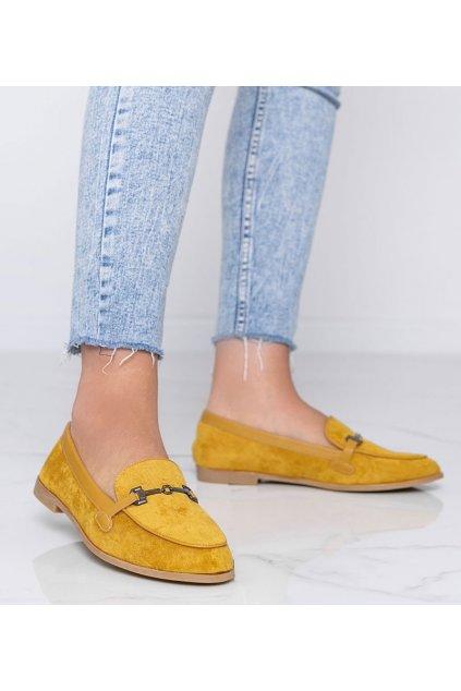 Dámske topánky mokasíny žlté kód 8742 - GM